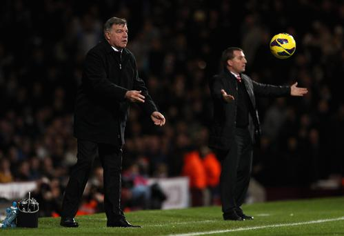Support: Brendan Rodgers, pictured managing against Sam Allardyce during their respective spells at Liverpool and West Ham, hit out at the sting