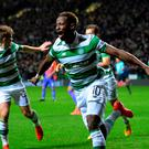 GLASGOW, SCOTLAND - SEPTEMBER 28: Moussa Dembele of Celtic celebrates after scoring the opening goal during the UEFA Champions League group C match between Celtic FC and Manchester City FC at Celtic Park on September 28, 2016 in Glasgow, Scotland. (Photo by Mark Runnacles/Getty Images)