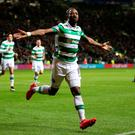 Celtic's Moussa Dembele celebrates scoring his side's third goal of the game during the UEFA Champions League, Group C match at Celtic Park, Glasgow. Jane Barlow/PA Wire