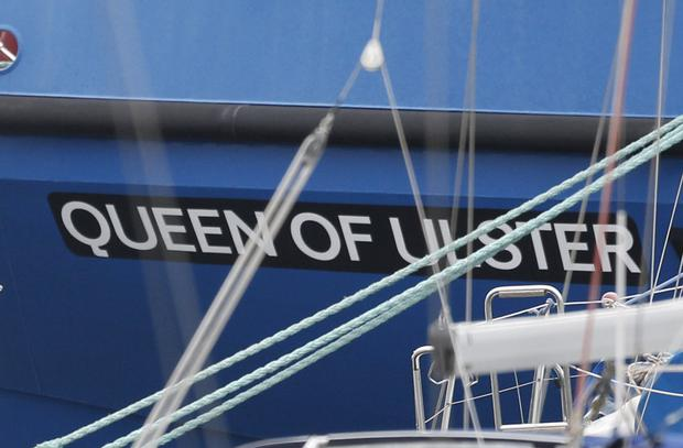 The Fishery Protection boat that has been renamed Queen of Ulster, seen here at Bangor Marina.