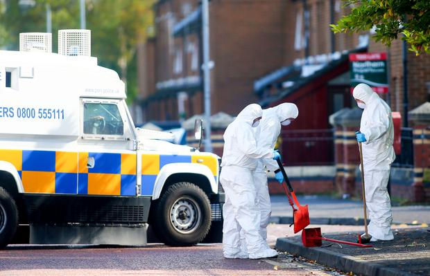 Forensic officers at the scene of an incident in the Eliza Street area of south Belfast. (Photo by Kevin Scott / Belfast Telegraph)
