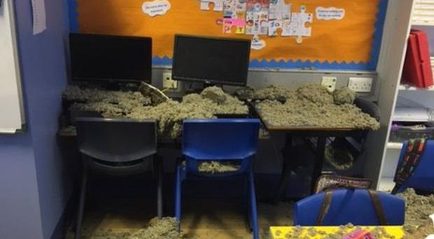 The aftermath of the ceiling collapse in Killyleagh Primary School. Pic: BBC