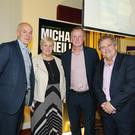 Good cause: Michael O'Neill at a fundraiser for NI Hospice with (from left) ex-international Lee Doherty, NI Hospice CEO Heather Weir and compère Adrian Logan