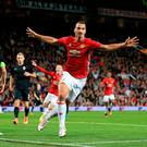 Manchester United's Zlatan Ibrahimovic celebrates scoring his side's first goal of the game during the UEFA Europa League, Group A match at Old Trafford, Manchester. Nigel French/PA Wire