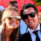 Erica Stoll and Rory McIlroy of Europe attend the 2016 Ryder Cup Opening Ceremony at Hazeltine National Golf Club on September 29, 2016 in Chaska, Minnesota. (Photo by Andrew Redington/Getty Images)
