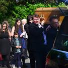 The funeral of renowned broadcaster Paddy O'Flaherty took place in Belfast. Hundreds of people gathered at St Gerard's Church in Belfast to say their final farewells to the veteran BBC journalist Mr O'Flaherty who passed away on Tuesday following a short illness, aged 73. Picture By: Arthur Allison.