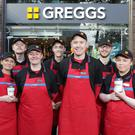 Team at Greggs Donegall Square West shop in Belfast are (l-r front) Diane Sloan, Nikki Barclay, Ryan Ferris, Shop Manager, Lauren McKeown (l-r back) Gareth Murray, Robert Boothman, Conan Bradley and Leanne McLarnon