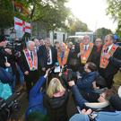 Loyalists dismantle protest camp at Twaddell Avenue. Image: Pacemaker