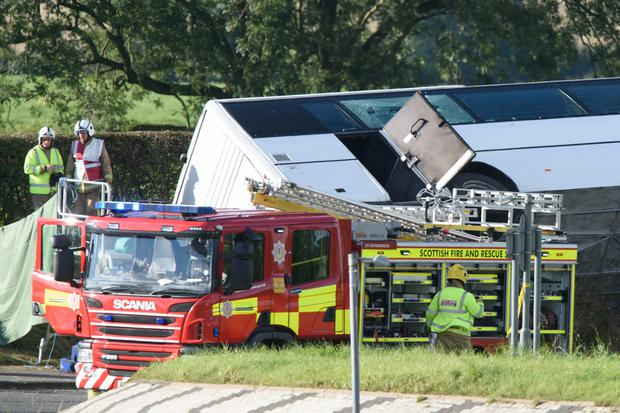The scene of the accident on the A76 at the Crossroads roundabout near to Bowhouse Prison, Ayrshire. John Linton/PA Wire.