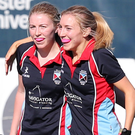 Net gain: Harlequins' Amy Geddes scores against the Ulster Elks