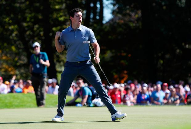 Europe's Rory McIlroy celebrates his putt on the 6th during the singles matches on day three of the 41st Ryder Cup at Hazeltine National Golf Club in Chaska, Minnesota, USA. David Davies/PA Wire.