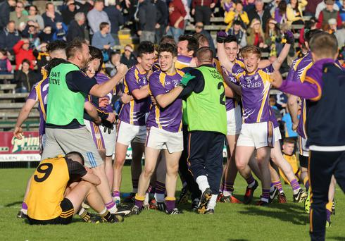 Just champion: Derrygonnelly Harps celebrate after their victory over Erne Gaels