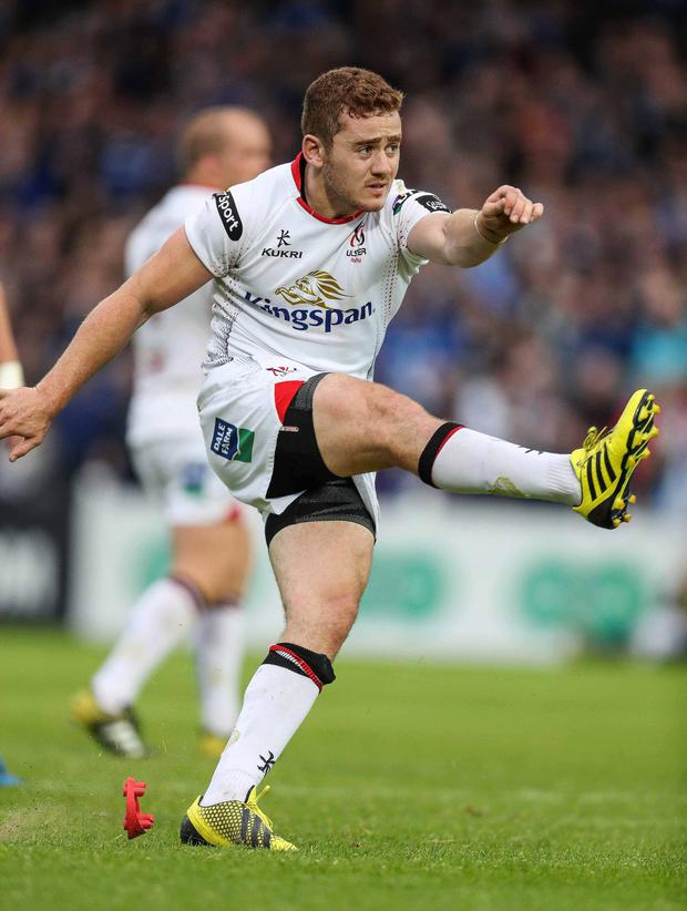 Close thing: Paddy Jackson kicked the crucial late penalty to secure victory