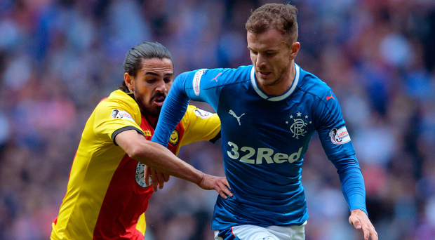 Man marked: Rangers' Andy Halliday (right) is tackled by Patrick Thistle's Ryan Edwards