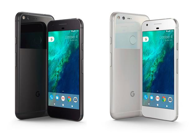 Google's new own-built smartphone, Pixel in Quite Black and Very Silver (right), which the tech giant says has been built with artificial intelligence at its centre. PA