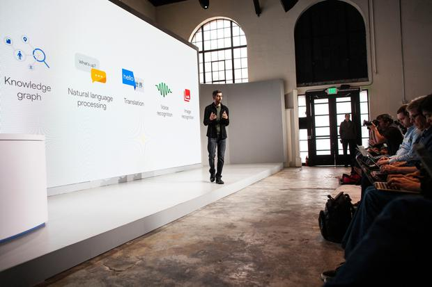 Pichai Sundararajan, known as Sundar Pichai, CEO of Google Inc. speaks during an event to introduce Google Pixel phone and other Google products on October 4, 2016 in San Francisco, California. The Google Pixel is intended to challenge the Apple iPhone in the premium smartphone category. (Photo by Ramin Talaie/Getty Images)