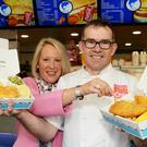 Malachy Mallon, owner of the Dolphin Takeaway in Dungannon, along with Dr Lynn Gilmore, Seafish NI