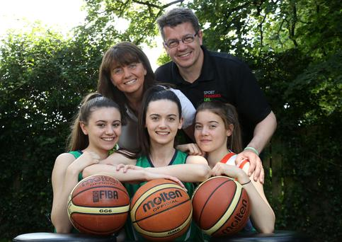 In the family: Deirdre and Gareth Maguire with daughters (left to right) Enya, Anna and Erin, who have all represented Ireland