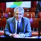 Pacemaker Press Belfast 05-10-2016: Nama: Finance minister to answer questions on coaching allegations. Finance Minister Máirtín Ó Muilleoir questioned over what he knew about secret contacts between a former Sinn Féin MLA and a loyalist blogger. Mr Ó Muilleoir appears before Stormont's finance committee, where he is answering questions about Nama coaching allegations. Picture By: Arthur Allison.