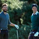 KINGSBARNS, SCOTLAND - OCTOBER 05: Actors Jamie Dornan (left) and Matthew Goode during a practice round at the Alfred Dunhill Links Championship at Kingsbarns Golf Links golf course on October 5, 2016 in St Andrews, Scotland. (Photo by Richard Heathcote/Getty Images)