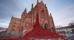 The Weeping Window sculpture pictured at St Magnus Cathedral, Kirkwall.