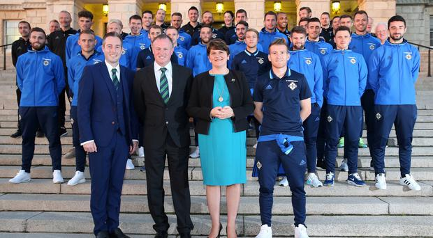 First Minister Arlene Foster MLA and Sports Minister Paul Givan MLA welcome Northern Ireland manager Michael O'Neill and captain Steven Davis and squad to a reception at Parliament Buildings,Stormont. Picture by Brian Little/PressEye