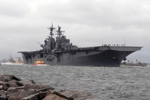 This US Navy photo obtained October 6, 2016 shows Amphibious assault ship USS Iwo Jima (LHD 7) as it departs Naval Station Mayport in preparation of Hurricane Matthew's arrival onto Florida's eastern coast on October 5, 2016. (File photo AFP/Getty Images)