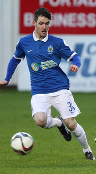 Impact: Paul Smyth, playing for his club Linfield, hit the back of the net