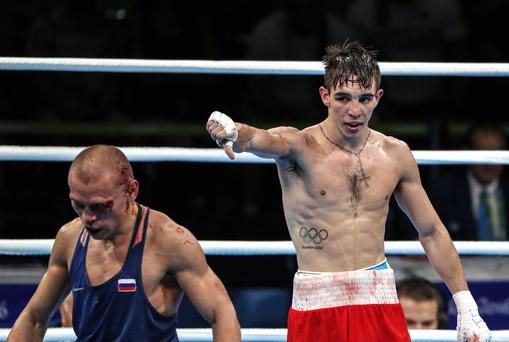 Thumbs down: Michael Conlan shows his disgust after the decision in his Rio quarter-final was controversially given to Vladimir Nikitin