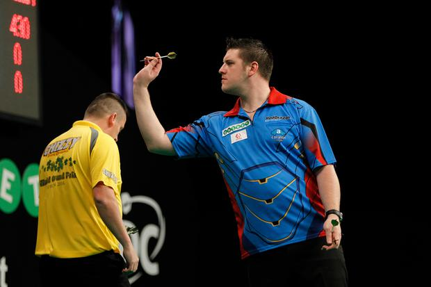 Knocked out: Daryl Gurney tasted defeat in the World Grand Prix of Darts quarter-finals in Dublin