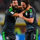 Get in: Joe Allen (right) is congratulated by Joe Ledley after opening the scoring for Wales against Austria in Vienna last night