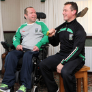 Brotherly love: Clarke brothers Graham (42) who is a keeper for Ballygalget and Declan (40) who suffers from MS have been members of Ballygalget GAC most of their life