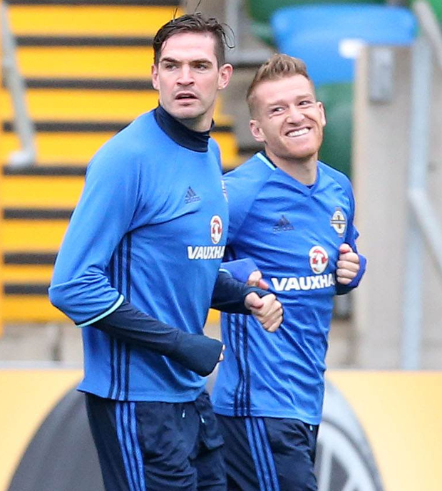 Smiling assassins: Northern Ireland's captain Steven Davis (right) in training with striker Kyle Lafferty