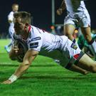 Touchdown: Ulster's Craig Gilroy scores his side's first try at the Sportsground in Galway last night