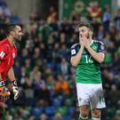 Northern Ireland v San Marino - World Cup Qualifier Northern Ireland's Stuart Dallas and San Marinos Aldo Simoncini during this evenings game at the National Stadium, Belfast. Photo by David Maginnis/Pacemaker Press