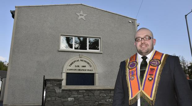 Alan Laird, Worshipful Master of Thiepval Memorial LOL 1005, Convoy at the re-opening of the Co Donegal Orange Hall which was destroyed in an arson attack in 2014. Photo by Keith Moore
