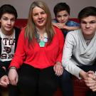 Holiday treat: Karen Ireland with her three sons, from left, Korey, Teo and Jesse