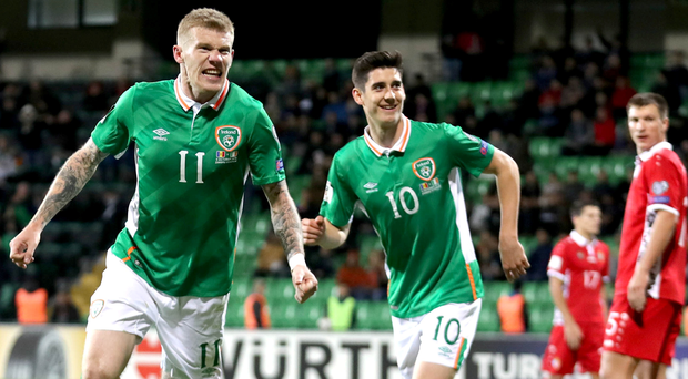 Double joy: James McClean finishes off the scoring for Republic of Ireland last night
