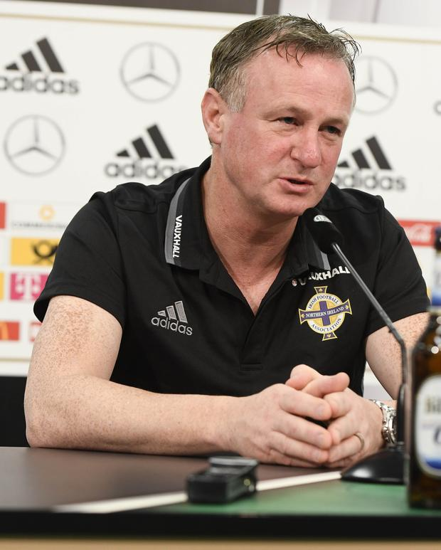 PACEMAKER BELFAST 10/10/2016 Northern Ireland Manager Michael O'Neill during a Press conference at the Hannover Arena in Hannover, ahead of Northern Ireland's World Cup Qualifier against Germany on Tuesday evening. Photo Colm Lenaghan/Pacemaker Press