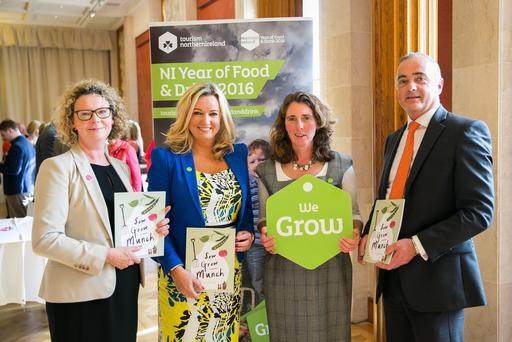 Carolyn Boyd of Tourism NI, Jo-Anne Dobson MLA, 'edible gardener' Jilly Dougan and Richard Hanna of CCEA