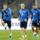 Step up: Steven Davis, Ryan McGivern and Gareth McAuley at last night's Northern Ireland training session in Hannover