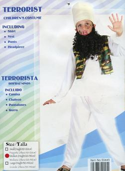 Child Terrorist Costumes sold in the Halloween shop in Coleraine's Diamond centre. Pic: Cascade News