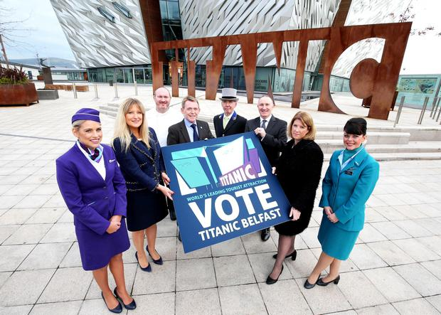 Titanic Belfast is one of just eight global finalists in the shortlist to win the title of the World's Leading Tourist Attraction. Backing the campaign are (l-r) Lesley Johnston, Flybe, restauranteur and chef Niall McKenna from James Street South, Michael McQuillan, Tourism Northern Ireland, Hugh Philips, Hastings Hotels, Gerry Lennon, Visit Belfast, Janice Gault, Northern Ireland Hotels Federation and Lyndsey Minford, Aer Lingus.