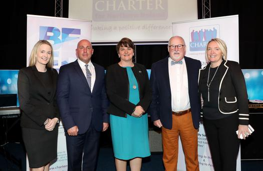DUP Councillor Sharon Skillen; David Stitt, CEO Charter NI; First Minister Arlene Foster; Drew Haire, Chairperson Charter NI; Caroline Birch, Project Manager