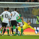 It takes two: Germany's Sami Khedira scores to make it 2-0 in Hannover