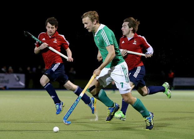 We meet again: Ireland striker Michael Watt could face up to France's Hugo Genestet (right) in the World League Series in Ulster in March, the teams last meeting in Dublin prior to the Green Machine heading to Rio