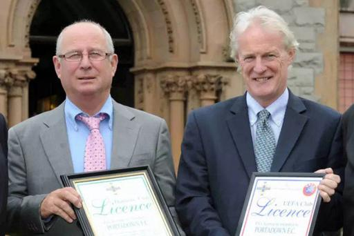 Hitting back: Portadown chairman Roy McMahon (left) and director Trevor Marshall have been left upset by the Irish FA Appelas Board verdict which was highy critical of the club