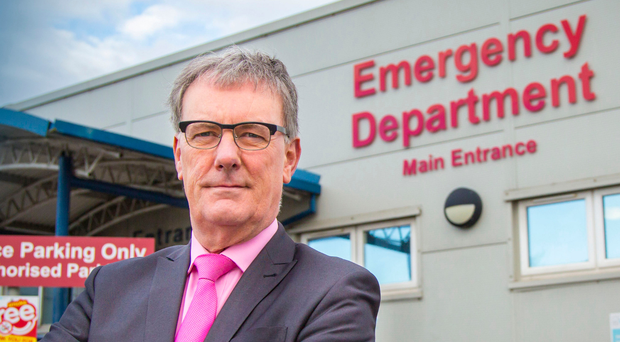 Mike Nesbitt outside the A&E department of the Ulster Hospital in Dundonald