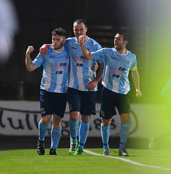 Sky Blue party: Ballymena United trio Cathair Friel, Kyle Owens and Jim Ervin celebrate the League Cup victory over Linfield