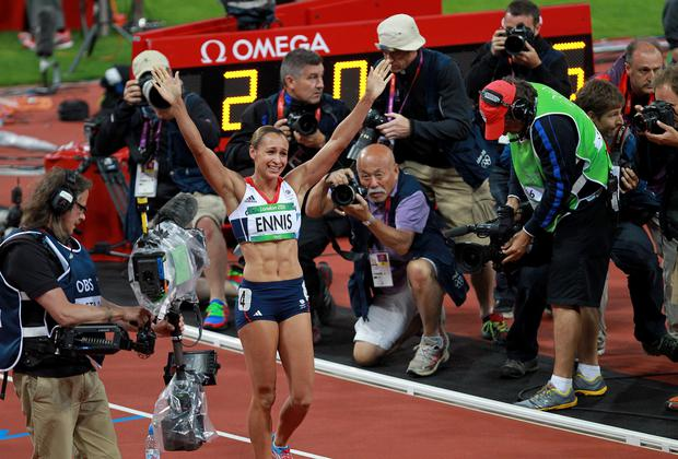 Jessica Ennis-Hill was crowned Olympic heptathlon champion in front of a home crowd as a new British record carried her to gold at London 2012.
